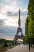 Eiffel tower with park around, Paris Stock Photos