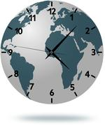 Earth map with clock face isolated on white 1 - stock illustration