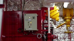 Fire line and expansion tank of foam room.Fuel oil tank, manhole covers.  Stock Footage
