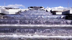The cascade fountain. Water. Running water. Waterfall. Sochi Olympic Park Stock Footage