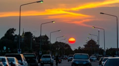 4K Time lapse of sunset at road of Koh Loy island at sea - stock footage