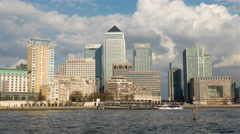 Time lapse: London Docklands skyscrapers and the River Thames - stock footage