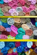 Colorful rolled towels Stock Photos