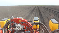 POV tractor with planter, seeding corn  Stock Footage