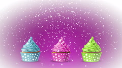 Birthday cupcakes with falling snowflakes on a pink background. 4K motion. - stock footage