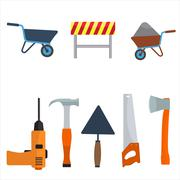 Vector construction tools icon set. Flat color design Stock Illustration