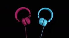 Two headphones - one heart. Stop motion - stock footage
