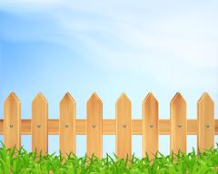 Wooden fence and grass - stock illustration