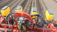 Tractor with planter, seeding corn POV  Stock Footage