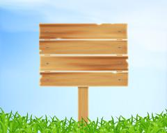Wooden plank with grass - stock illustration