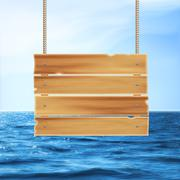 Wooden plank and sea - stock illustration