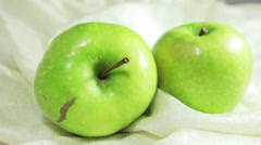 Video overview of green apple. Fruit Still Life in a white box. - stock footage