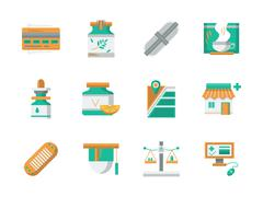 Flat design vector icons for drugstore Piirros