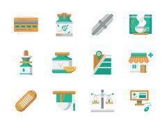 Flat design vector icons for drugstore Stock Illustration