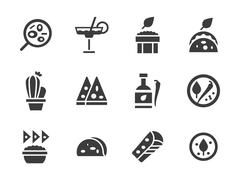 Glyph design vector icons for mexican food Stock Illustration