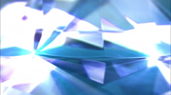 Macro of blue diamond motion rotation with glowing rays. HD Video Clip Stock Footage