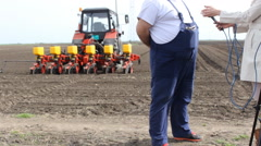 Agro farmer statement for press  Stock Footage