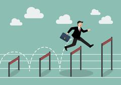 Businessman jumping higher over hurdle Stock Illustration