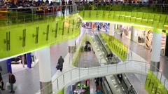 People in shopping center. On three floors are located more than 100 stores Stock Footage