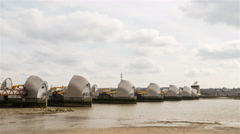 Time lapse: Thames Flood Barrier, London, UK Stock Footage