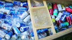 Boat with drink in ice - Miller Lite, Coca-cola, Bud light, Sprite. - stock footage