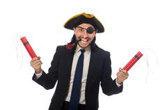 Pirate businessman with smoking pipe and detonator isolated on w Stock Photos