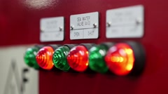 Indicator lamp on control panel. Interior of ship.  - stock footage