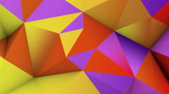 Vivid color low poly surface. Abstract 3D render loop 4k UHD (3840x2160) Stock Footage