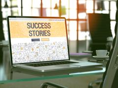 Laptop Screen with Success Stories Concept - stock illustration