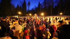 People commit ritual at night during Shrovetide Stock Footage