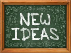 New Ideas Concept. Doodle Icons on Chalkboard Stock Illustration