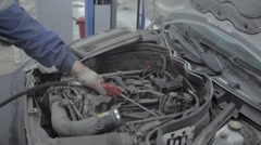 Professional Car Mechanic Working in Auto Repair Service Stock Footage