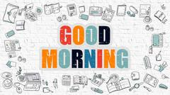 Stock Illustration of Good Morning Concept with Doodle Design Icons
