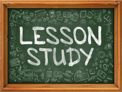 Lesson Study - Hand Drawn on Green Chalkboard - stock illustration