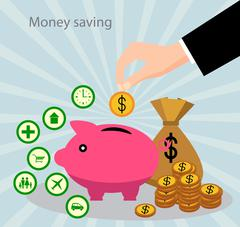 Savings and the accumulation of money - stock illustration