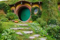Movie set for the Lord of The Rings and The Hobbit. Bilbo Baggins house Stock Photos