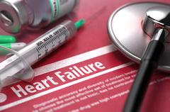 Heart Failure - Printed Diagnosis on Red Background - stock illustration
