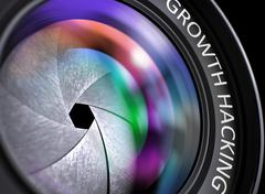 Growth Hacking Concept on Digital Camera Lens - stock illustration