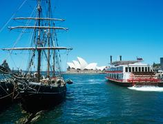 Boats and sydney opera house - stock photo