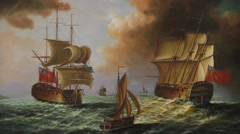 Victorian battleships in combat painting - stock footage