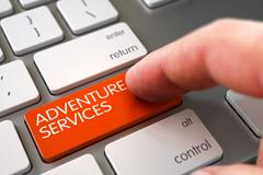 Adventure Services on Keyboard Key Concept Stock Illustration