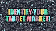 Multicolor Identify Your Target Market on Dark Brickwall - stock illustration
