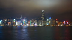 Light show in Hong Kong at night, zoom timelapse - stock footage