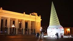 Ice cream sculpture near Entrance park Gorky at night. Stock Footage