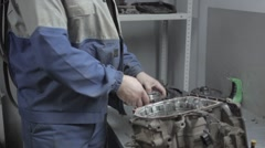 Auto Mechanic Repairing a Car Engine and Macro View of Automatic Robot Stock Footage