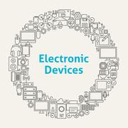 Electronic Devices Line Art Icons Set Circle - stock illustration