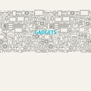 Technology Gadgets Line Art Seamless Web Banner - stock illustration