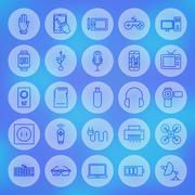 Line Circle Web Gadgets and Devices Icons Set - stock illustration