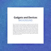 Paper over Gadgets and Devices Line Art Background - stock illustration