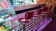 Bar counter in Beverly Hills Diner - network of restaurants Stock Footage